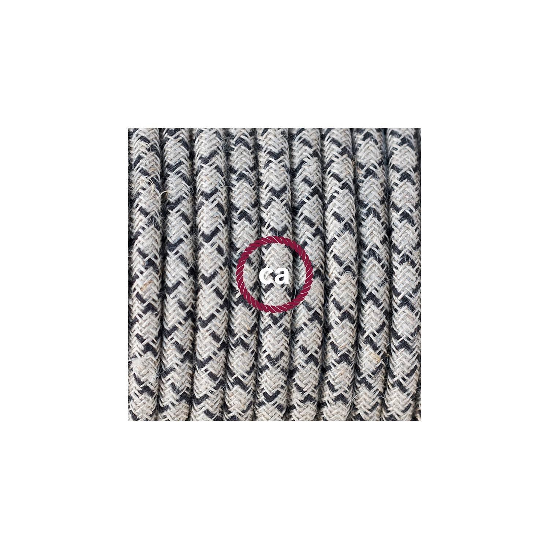 Cablaggio per piantana, cavo RD64 Cotone e Lino Naturale Losanga Antracite 3 m. Scegli il colore dell'interruttore e della spina