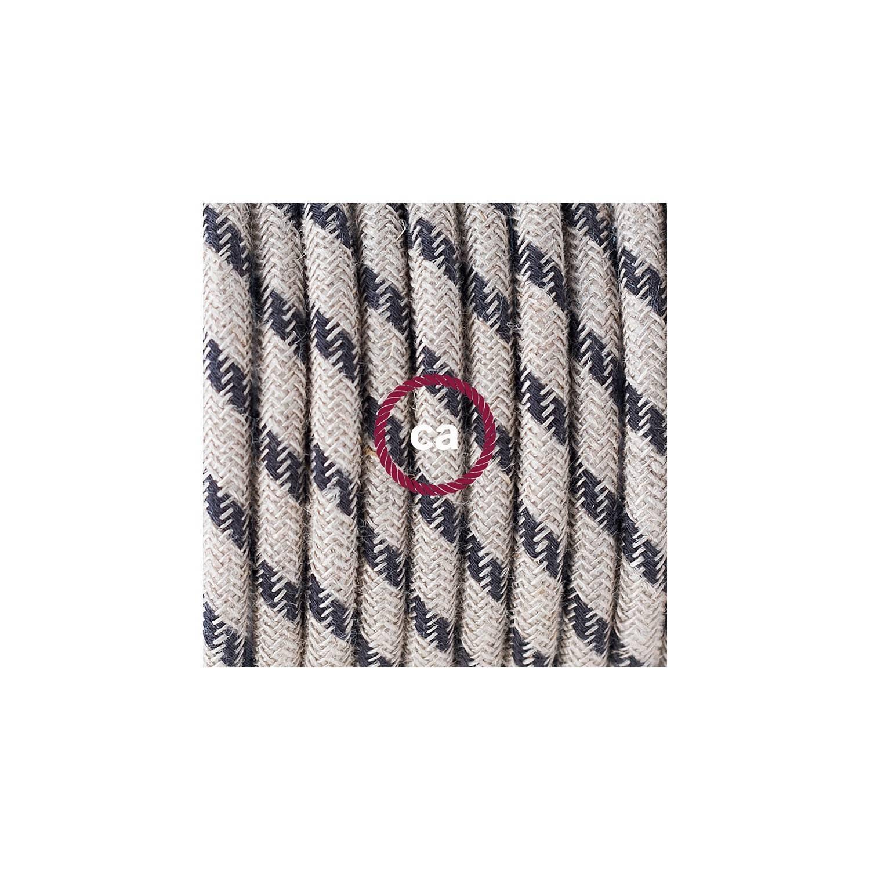 Cablaggio per piantana, cavo RD54 Cotone e Lino Naturale Stripes Antracite 3 m. Scegli il colore dell'interruttore e della spina