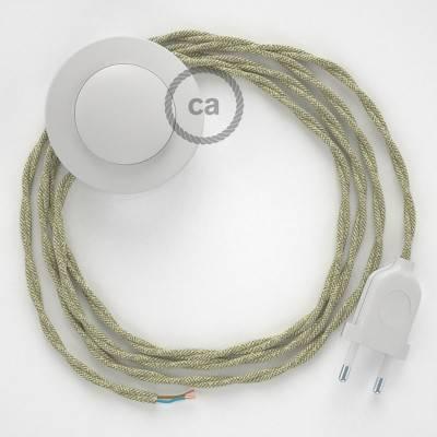 Cablaggio per piantana, cavo TN01 Lino Naturale Neutro 3 m. Scegli il colore dell'interruttore e della spina.