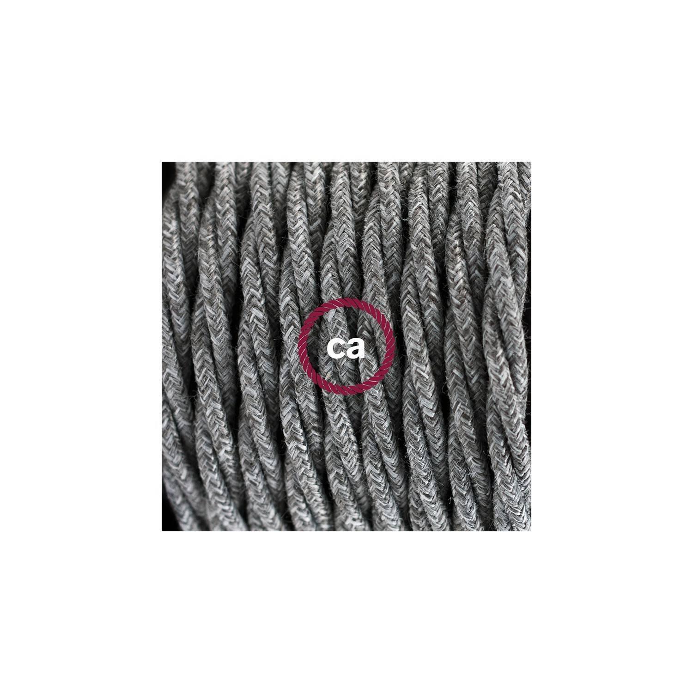 Cablaggio per piantana, cavo TN02 Lino Naturale Grigio 3 m. Scegli il colore dell'interruttore e della spina.