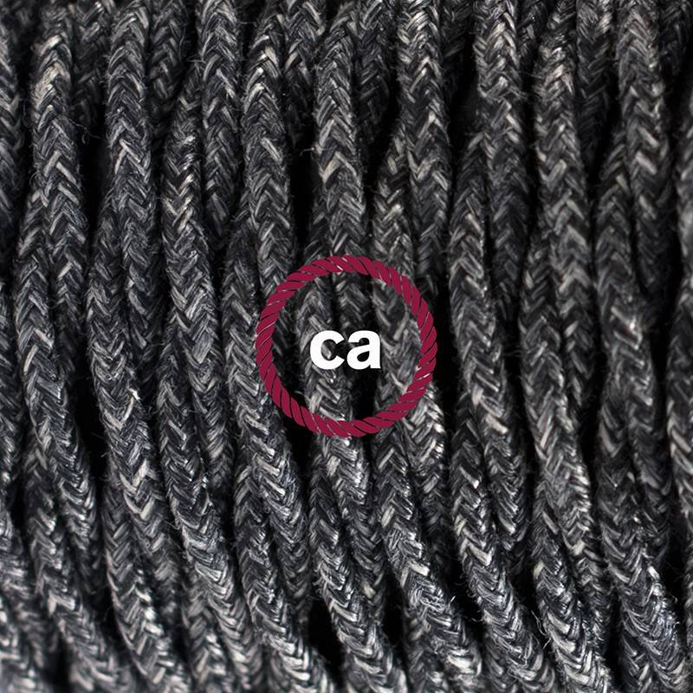 Cablaggio per piantana, cavo TN03 Lino Naturale Antracite 3 m. Scegli il colore dell'interruttore e della spina.