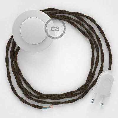 Cablaggio per piantana, cavo TN04 Lino Naturale Marrone 3 m. Scegli il colore dell'interruttore e della spina.
