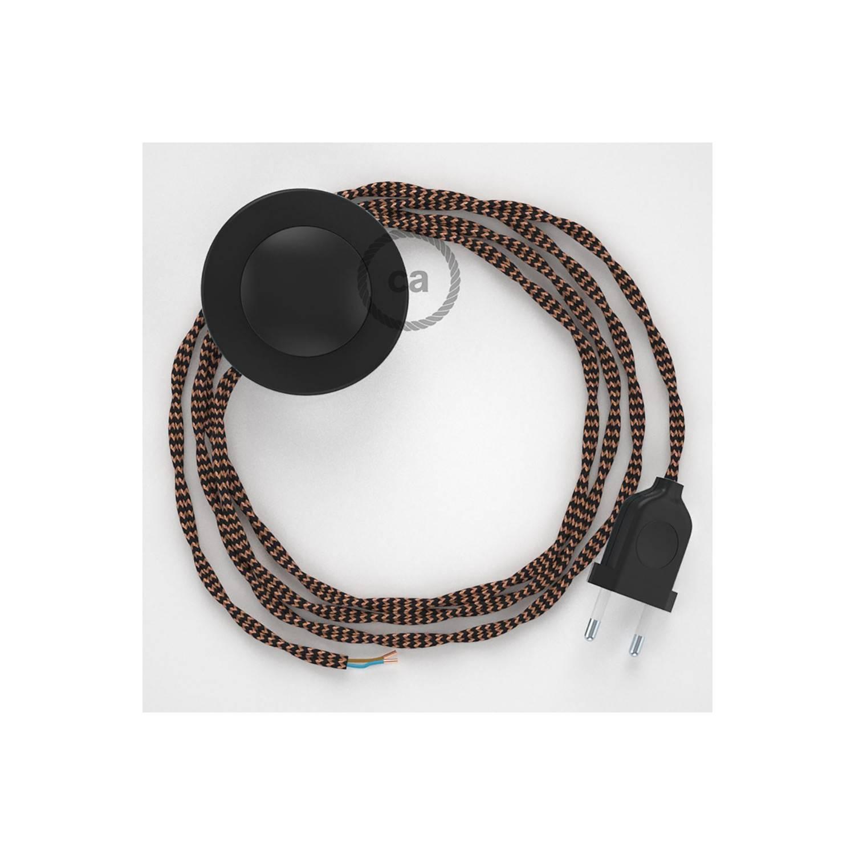 Cablaggio per piantana, cavo TZ22 Effetto Seta Nero e Whiskey 3 m. Scegli il colore dell'interruttore e della spina.