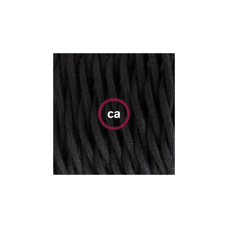 Cablaggio per piantana, cavo TC04 Cotone Nero 3 m. Scegli il colore dell'interruttore e della spina.
