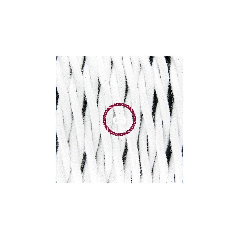 Cablaggio per piantana, cavo TC01 Cotone Bianco 3 m. Scegli il colore dell'interruttore e della spina.
