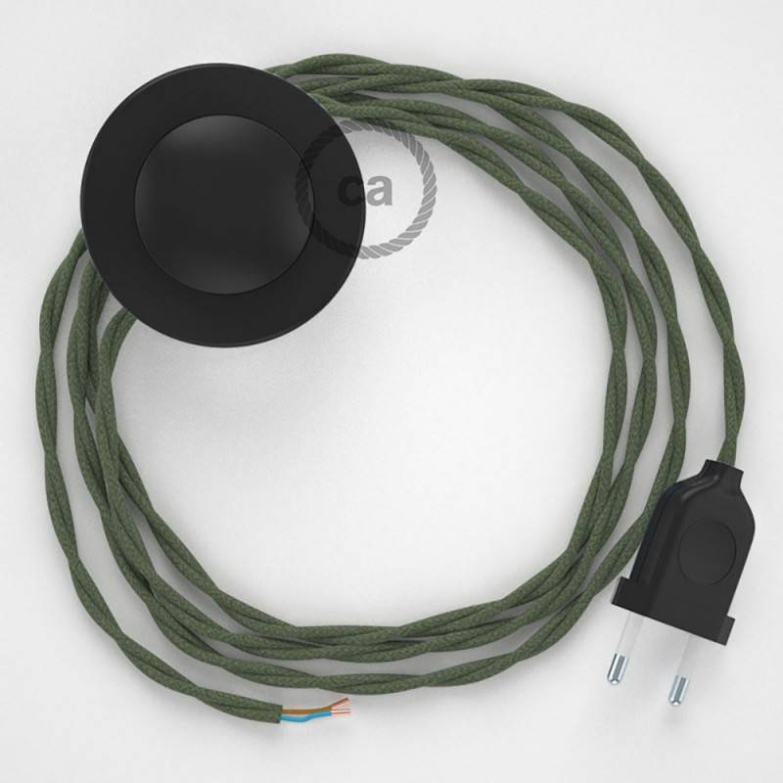 Cablaggio per piantana, cavo TC63 Cotone Verde Grigio 3 m. Scegli il colore dell'interruttore e della spina.