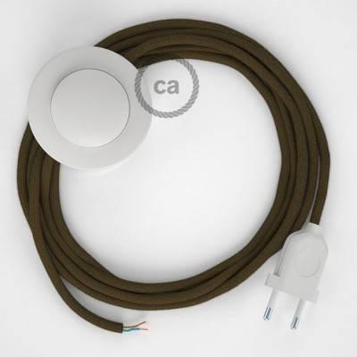 Cablaggio per piantana, cavo RC13 Cotone Marrone 3 m. Scegli il colore dell'interruttore e della spina.