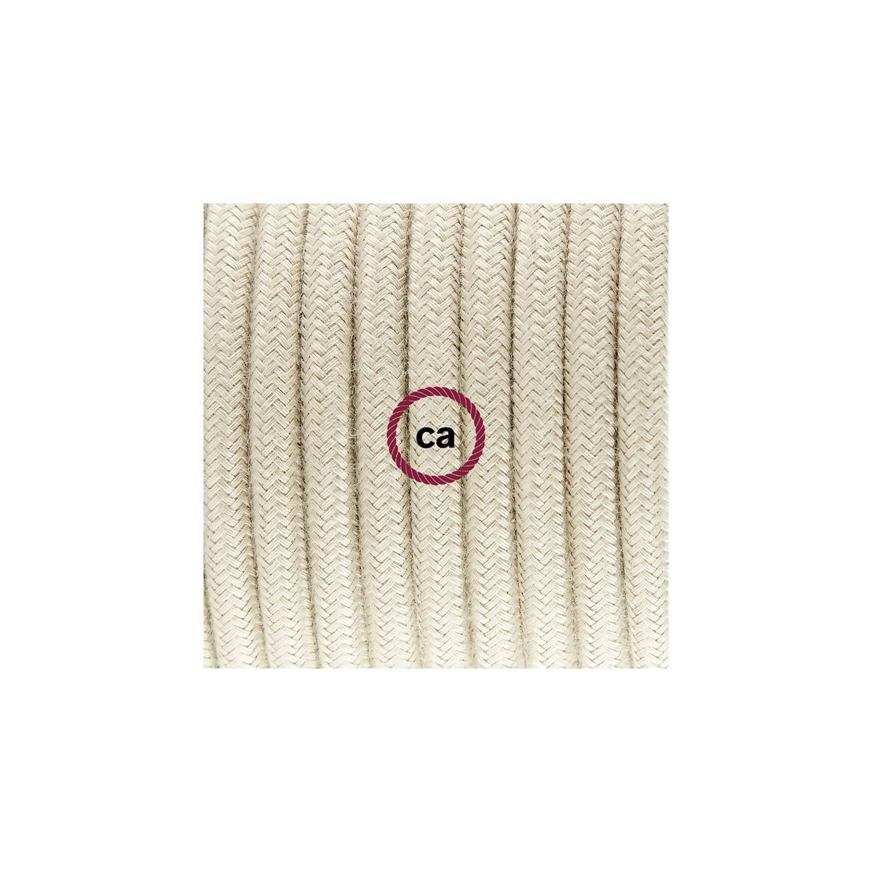 Cablaggio per piantana, cavo RC43 Cotone Tortora 3 m. Scegli il colore dell'interruttore e della spina.