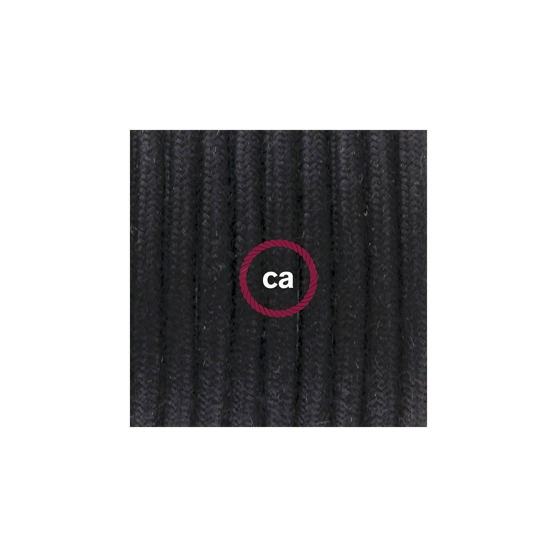 Cablaggio per piantana, cavo RC04 Cotone Nero 3 m. Scegli il colore dell'interruttore e della spina.