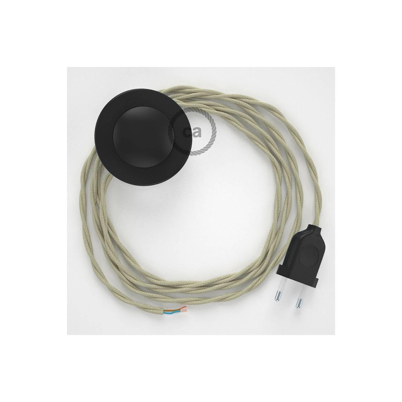 Cablaggio per piantana, cavo TC43 Cotone Tortora 3 m. Scegli il colore dell'interruttore e della spina.