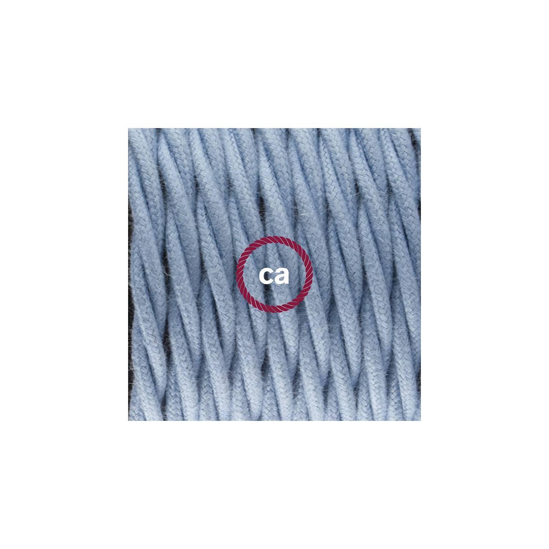 Cablaggio per piantana, cavo TC53 Cotone Oceano 3 m. Scegli il colore dell'interruttore e della spina.