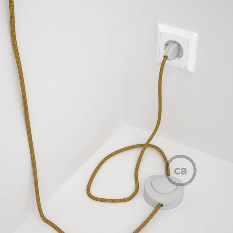 Cablaggio per piantana, cavo RL05 Effetto Seta Glitterato Oro 3 m. Scegli il colore dell'interruttore e della spina.
