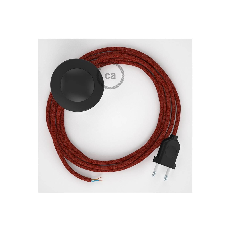 Cablaggio per piantana, cavo RL09 Effetto Seta Glitterato Rosso 3 m. Scegli il colore dell'interruttore e della spina.