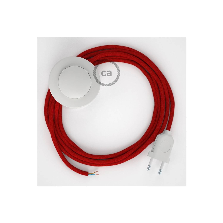 Cablaggio per piantana, cavo RC35 Cotone Rosso Fuoco 3 m. Scegli il colore dell'interruttore e della spina.