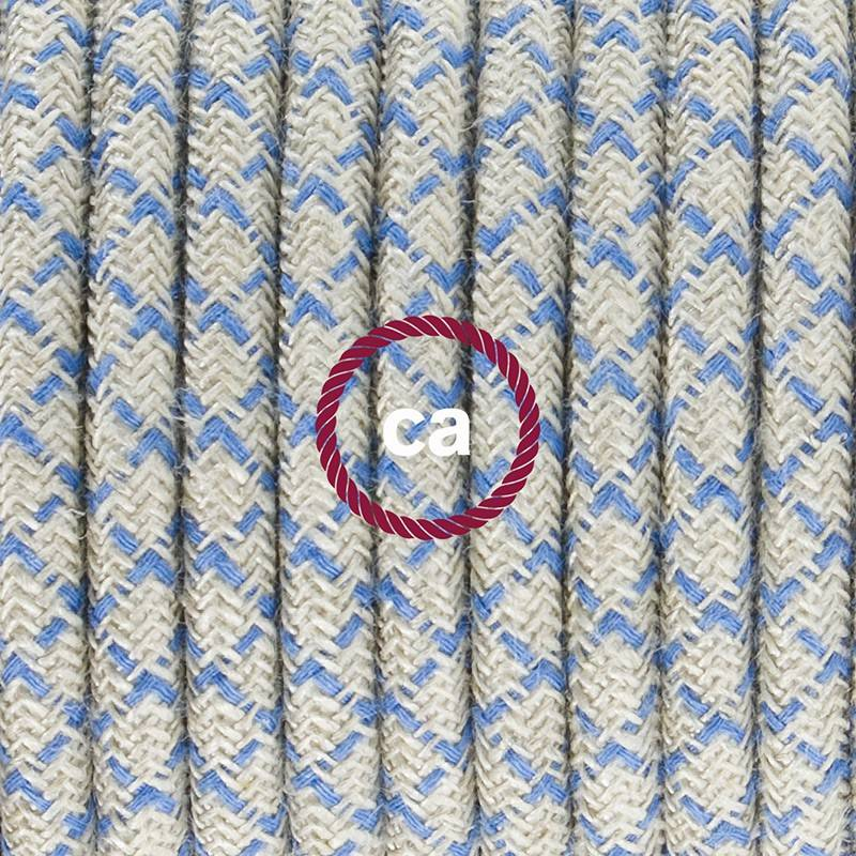 Cablaggio per piantana, cavo RD65 Cotone e Lino Losanga Blu Steward 3 m. Scegli il colore dell'interruttore e della spina.