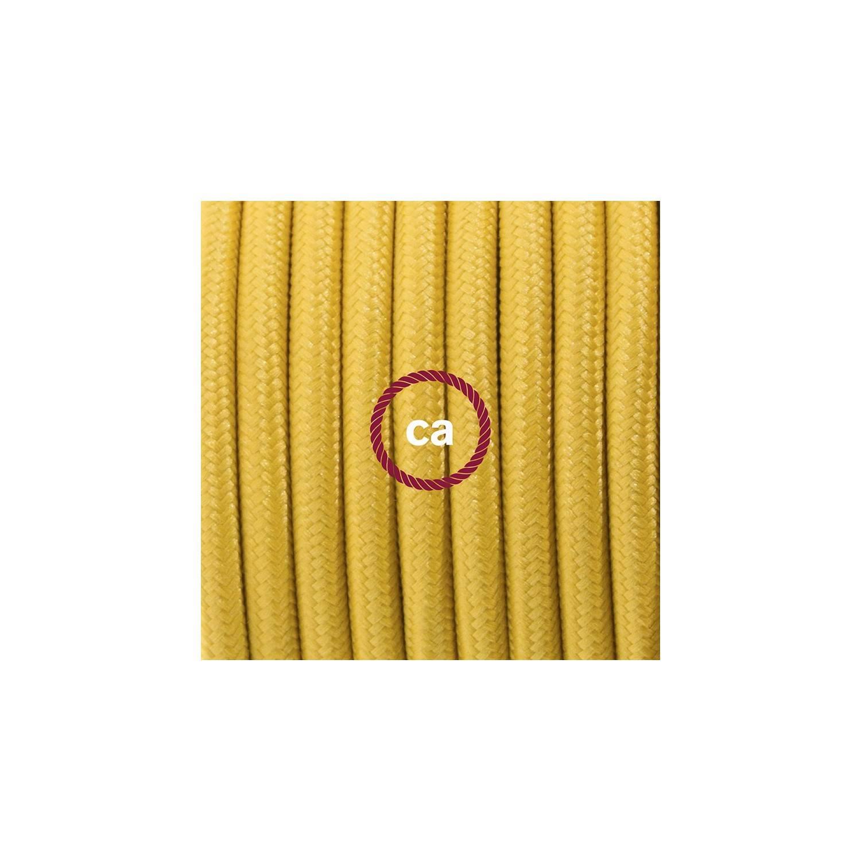 Cablaggio per piantana, cavo RM25 Effetto Seta Senape 3 m. Scegli il colore dell'interruttore e della spina.