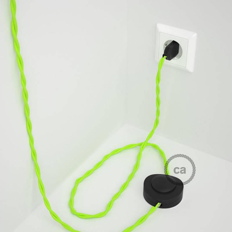 Cablaggio per piantana, cavo TF10 Effetto Seta Giallo Fluo 3 m. Scegli il colore dell'interruttore e della spina.