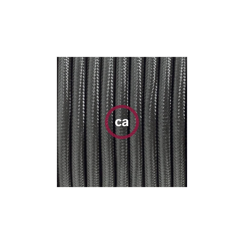 Cablaggio per piantana, cavo RM26 Effetto Seta Grigio Scuro 3 m. Scegli il colore dell'interruttore e della spina.