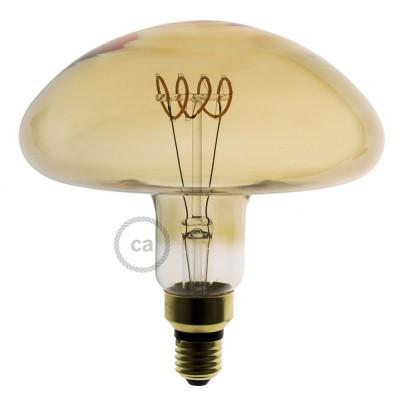 Lampadina Dorata LED XXL Fungo Filamento Curvo a Spirale orizzontale 5W E27 Dimmerabile 2000K