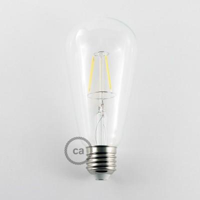 Lampadina Trasparente LED Edison ST64 Filamento Corto 4W E27 Decorativa Vintage 3000K