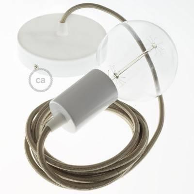 Pendel singolo, lampada sospensione cavo tessile Effetto Seta Cipria RM27