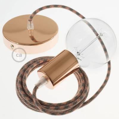Pendel singolo, lampada sospensione cavo tessile Cotone Bicolore Rosa Antico e Grigio RP26