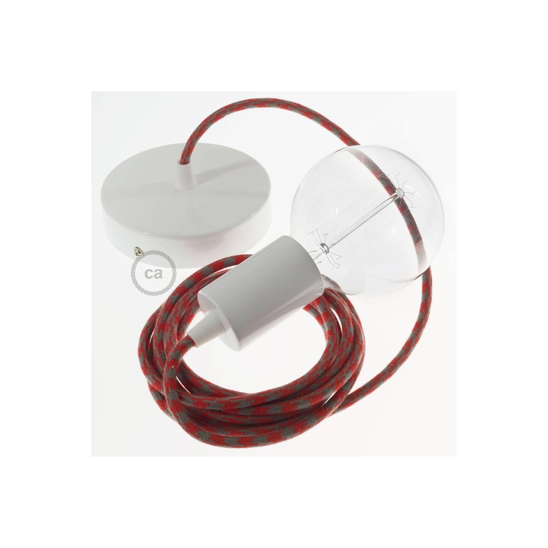 Pendel singolo, lampada sospensione cavo tessile Cotone Bicolore Rosso Fuoco e Grigio RP28