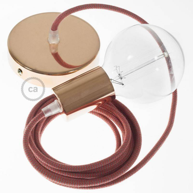 Pendel singolo, lampada sospensione cavo tessile Cotone ZigZag Rosso Fuoco e Grigio RZ28