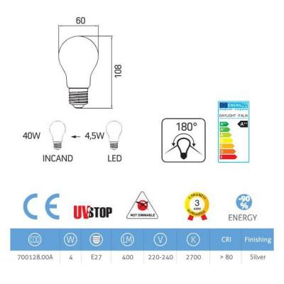 Lampadina LED mezza sfera argento 4W E27 2700K