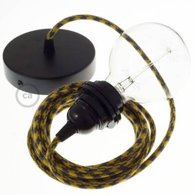 Pendel per paralume, lampada sospensione cavo tessile Cotone Bicolore Miele Dorato e Antracite RP27