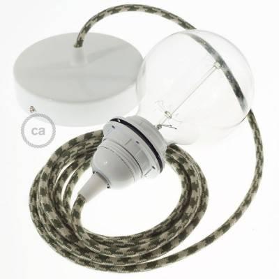 Pendel per paralume, lampada sospensione cavo tessile Cotone Bicolore Verde Timo e Tortora RP30