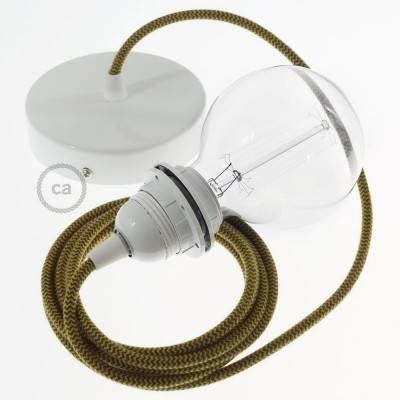 Pendel per paralume, lampada sospensione cavo tessile Cotone ZigZag Miele Dorato e Antracite RZ27