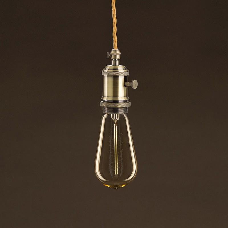 Lampadina Vintage Dorata Edison ST58 Filamento di Carbonio a Doppia Spirale 25W E27 Dimmerabile 2000K