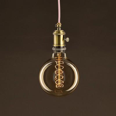 Lampadina Vintage Dorata Globo G125 Filamento di Carbonio Curvo a Spirale 30W E27 Dimmerabile 2000K