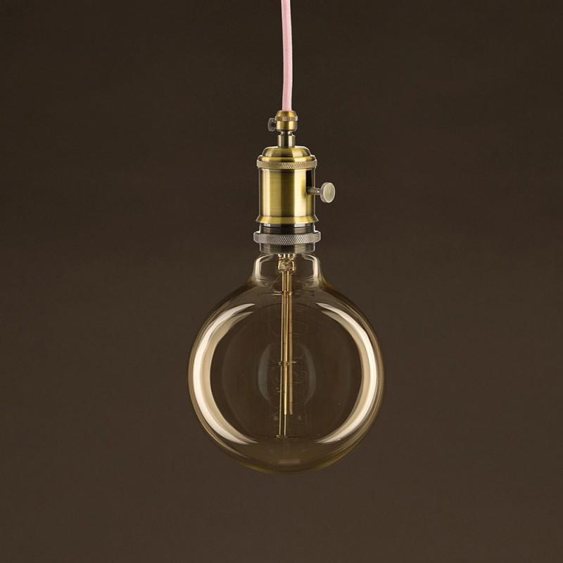 Lampadina Vintage Dorata Globo G125 Filamento di Carbonio Curvo a Spirale 25W E27 Dimmerabile 2000K