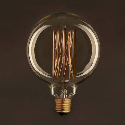 Lampadina Vintage Dorata Globo G125 Filamento di Carbonio a Gabbia 30W E27 Dimmerabile 2000K
