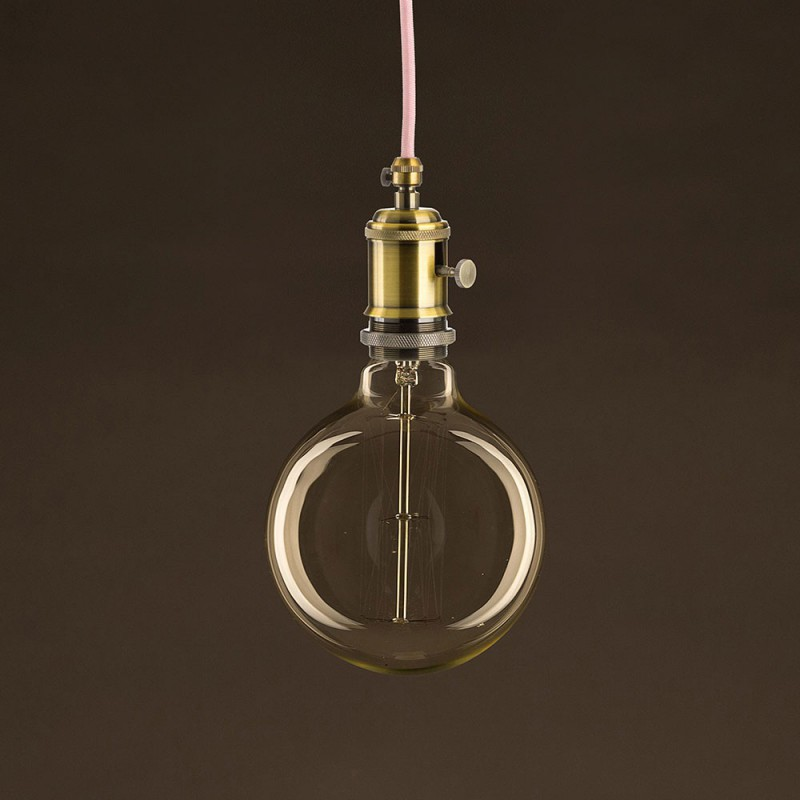 Lampadina Vintage Dorata Globo G125 Filamento di Carbonio a Gabbia 25W E27 Dimmerabile 2000K