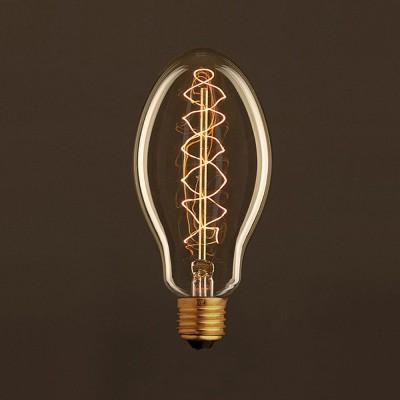 Lampadina Vintage Dorata Candela E75 Filamento di Carbonio a Doppia Spirale 25W E27 Dimmerabile 2000K