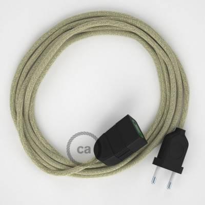 Prolunga elettrica con cavo tessile RN01 Lino Naturale Neutro 2P 10A Made in Italy.
