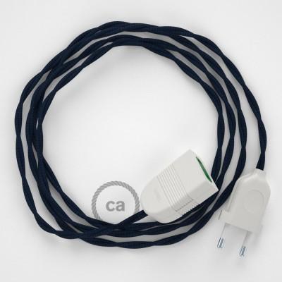 Prolunga elettrica con cavo tessile TM20 Effetto Seta Blu scuro 2P 10A Made in Italy.