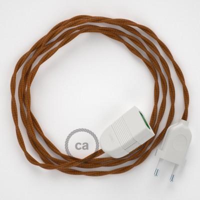 Prolunga elettrica con cavo tessile TM22 Effetto Seta Whiskey 2P 10A Made in Italy.