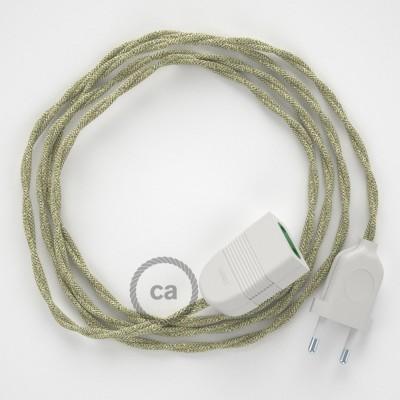 Prolunga elettrica con cavo tessile TN01 Lino Naturale Neutro 2P 10A Made in Italy.