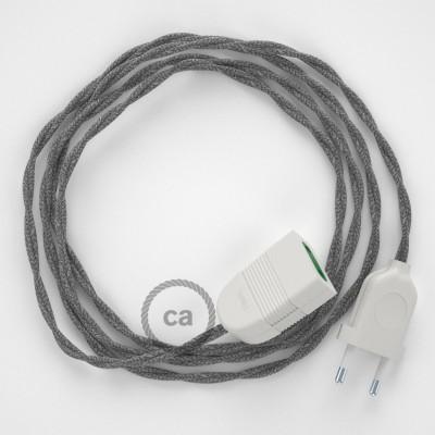 Prolunga elettrica con cavo tessile TN02 Lino Naturale Grigio 2P 10A Made in Italy.