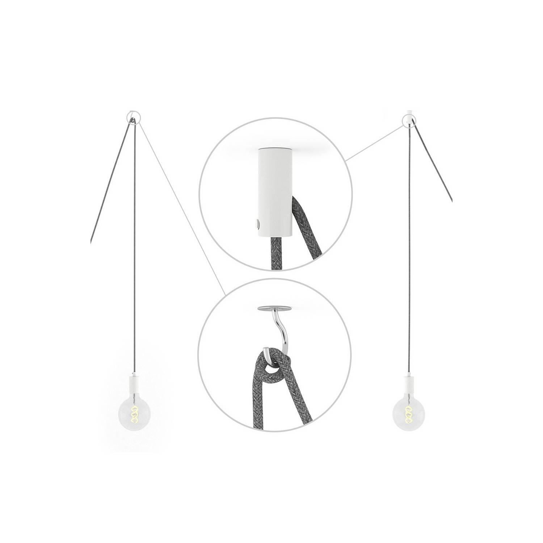 Spider, sospensione multipla a 6 cadute, metallo bianco, cavo RM04 Nero, Made in Italy.