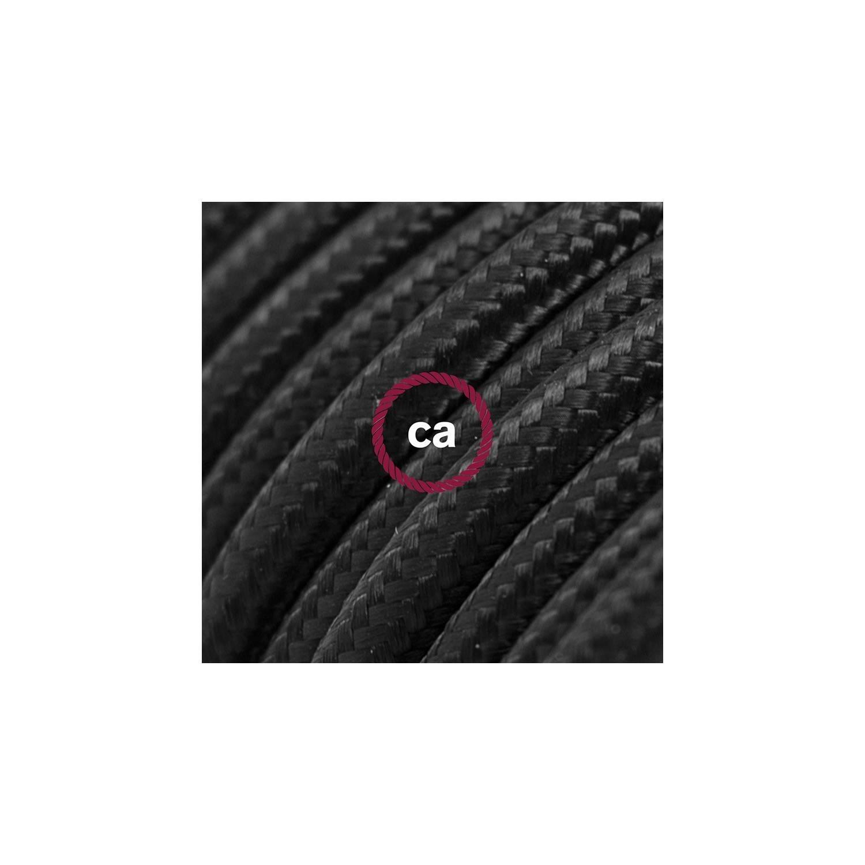 Spider, sospensione multipla a 7 cadute, metallo nero, cavo RM04 Nero, Made in Italy.