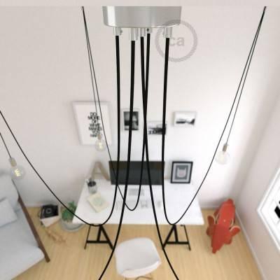 Spider, sospensione multipla a 5 cadute, metallo cromato, cavo RM04 Nero, Made in Italy.