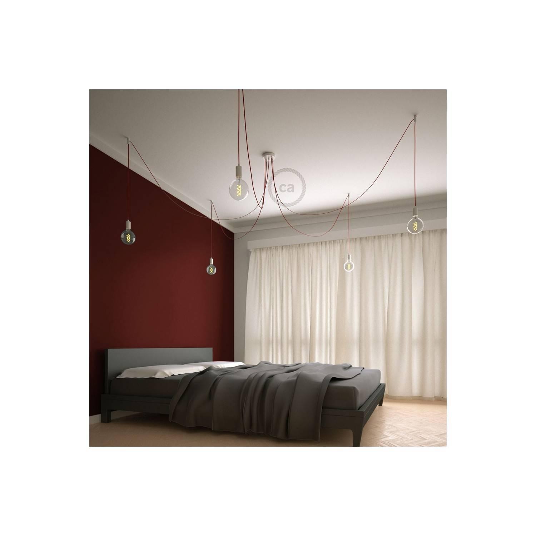 Spider, sospensione multipla a 5 cadute, metallo bianco, cavo RM09 Rosso, Made in Italy.