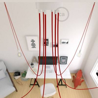Spider, sospensione multipla a 6 cadute, metallo bianco, cavo RM09 Rosso, Made in Italy.