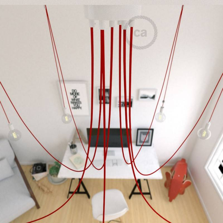 Spider, sospensione multipla a 7 cadute, metallo bianco, cavo RM09 Rosso, Made in Italy.
