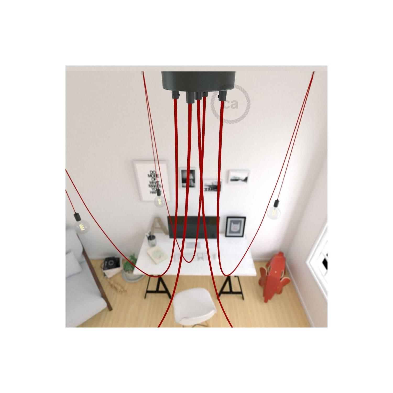 Spider, sospensione multipla a 5 cadute, metallo nero, cavo RM09 Rosso, Made in Italy.